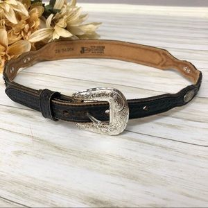 Justin Cowhide Leather Waist Belt Western Conch